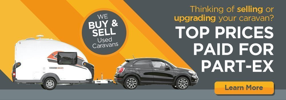 Part-Ex Your Caravan - Image of a small black car towing a Swift Basecamp caravan against a striped yellow and grey background. The text 'Top Prices Paid for Part-Ex' is to the right of the image, in a bold white sans serif font.
