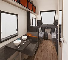 2021 Swift Basecamp CCV: Back to front image of the interior of the Swift Basecamp 4.