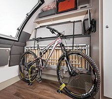 2021 Swift Basecamp CCV: Back to front image of the bike holding apparatus in the Basecamp 2.