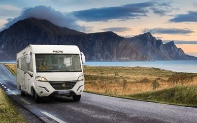 Help & Advice: Image of a Pilote Motorhome at sunset.
