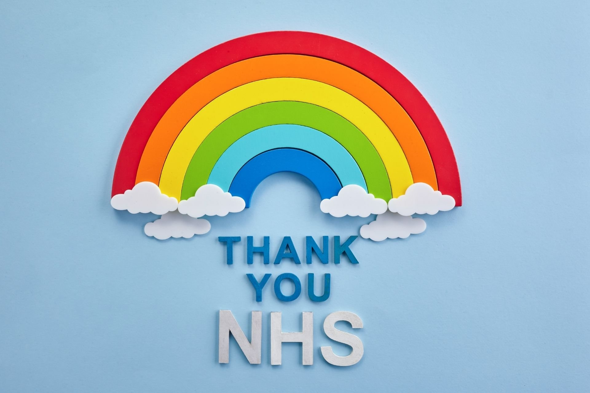 NHS Discount Event: Image of a rainbow with wording beneath reading 'Thank You NHS'.