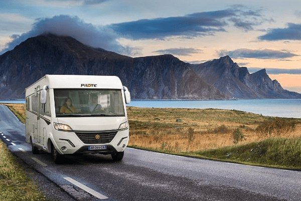 Why Choose a Pilote Motorhome?: Image of a Pilote Motorhome at dusk.