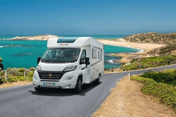 Why Choose a Pilote Motorhome?: Image of a Pilote Motorhome on a cliffside road.